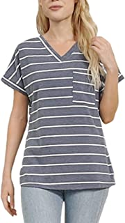 Womens T-Shirts Basic V Neck Striped Tee with Pocket...