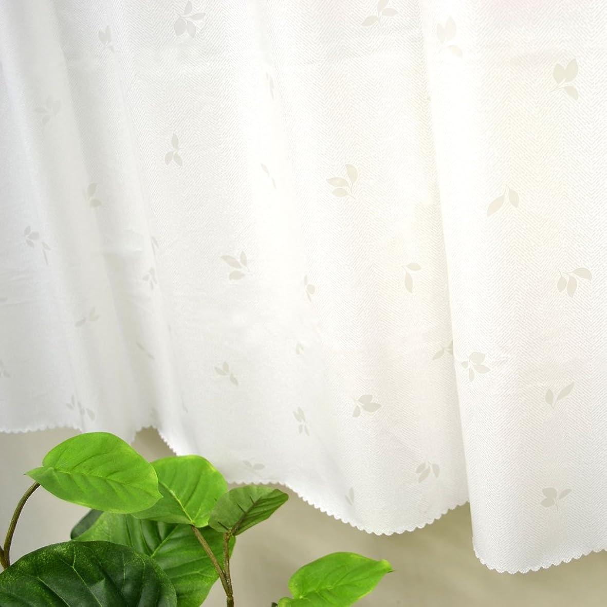 ダニアカデミーダニ防水 防カビ 遮像 お風呂に最適 カフェカーテン 「リーフ柄」 (幅 140cm x 丈 80cm, ホワイト)