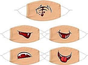 TEGT 5 stuks grappige herhaalbare mondbescherming, volwassenen ademhalingsbescherming, gezichtsbescherming, neusbeschermin...