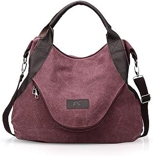 NICOLE & DORIS Segeltuch-Handtaschen Frauen Damen Leinentaschen Segeltuch Taschen Handtaschen Umhängetasche für Frauen Weinrot