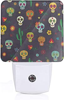 Mexican Sugar Skull Cactus Flower Plug-in Night Light Warm White LED Nightlight with Auto Dusk to Dawn Sensor, Perfect for Kids Room, Hallway, Bedroom, Kitchen, Bathroom
