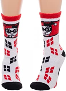 Harley Quinn Logo Women's Juniors Fuzzy Socks