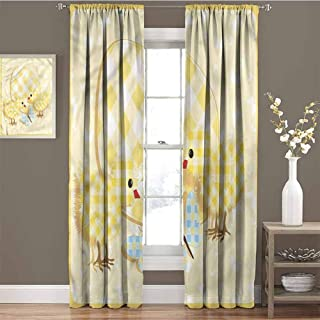 GUUVOR Baby Heat Insulation Curtain Plaid Patterned Animals for Living Room or Bedroom W84 x L84 Inch
