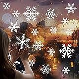 CUSFULL 108 Pcs Stickers Noël Flocons de Neige Blanche Amovible Décoration pour Mural Vitre Fenêtre, Deco Noel Salon Vitrine de Chambre