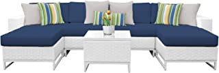 Delacora MIAMI-07B-NAVY Florida 7-Piece Aluminum Framed Outdoor Conversation Set with Accent Table