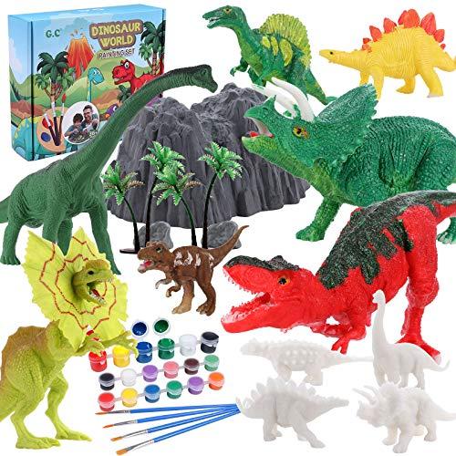 Dinosaurier Malset Dinosaurier Figuren Selber Gießen zum Bemalen und Basteln Dinosaurier Figuren Malset Kreativ Spielzeug Geburtstag Weihnachten Basteln Geschenk für Kinder Jungen 4 5 6 7 8 9 Jahre