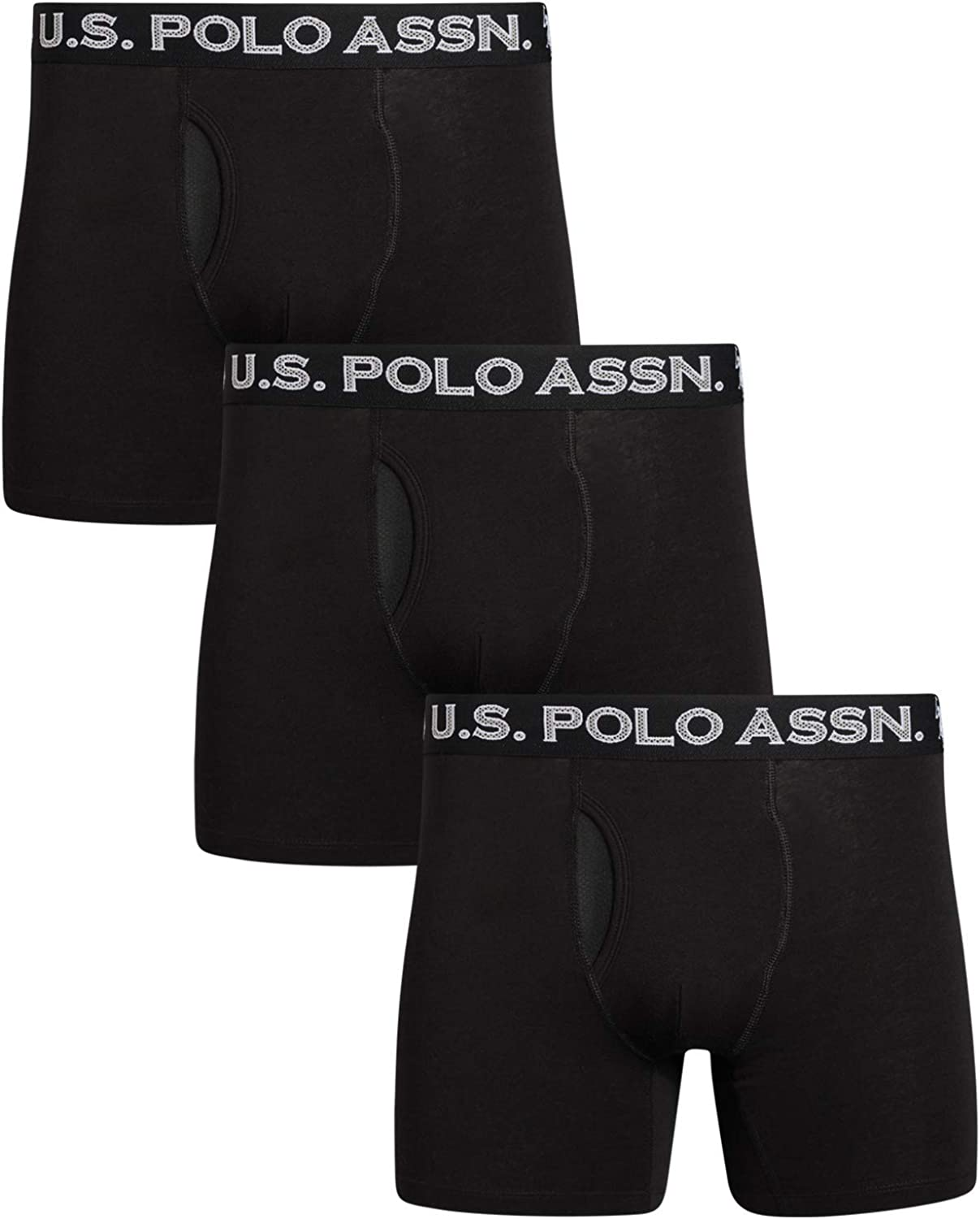 U.S. Polo Assn. Men's Cotton Boxer Briefs Underwear with Breathable Mesh Fly (3 Pack)