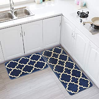 HEBE Kitchen Rugs Set of 2 Pieces Non Slip Washable Kitchen Rugs and Mats Set Moroccan Trellis Kitchen Rug and Runner Set Entry Rug Runner Floor Carpet Set(18