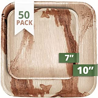 CaterEco Square Palm Leaf Plates Set (50 Pack)