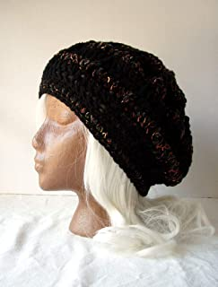 fca9f73f Black Charcoal Beanie w/Hints of Coral Crochet Hat Size Med Large