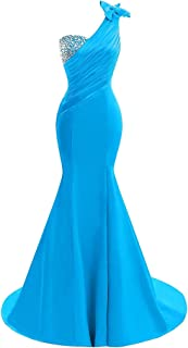 Lily Wedding Womens One Shoulder Satin Mermaid Prom Dress 2020 Evening Ball Gown