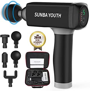 Massage Gun,SUNBA YOUTH Powerful Handheld Deep Tissue Muscle Massager,Rechargeable Cordless Percussion Massager with 5 Massage Heads& Portable Bag(Black)