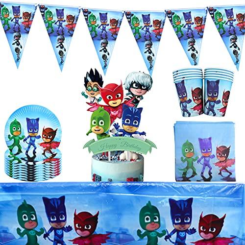 Pj Masks Cumpleaños, 52 Pcs Artículos de Fiesta Party Vajilla Platos Tazas Servilletas Mantel,Feliz cumpleaños Decoraciones Suministros Fiestas Regalos Tema