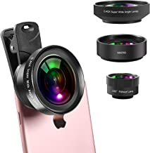 iPhone Lens Kit Wide Angle & Macro Lens (Screwed Together) and 230°Fisheye Lens for iPhone,Cell Phone Camera Lens Kit for Android iPhone X XR XS Max 8 7 6S Plus Samsung S9 S8