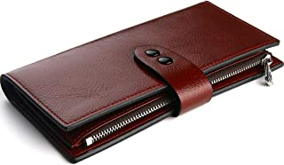 Buvelife Women's RFID Blocking Wallets Wax Leather Card Holder Wallet Ladies Purse