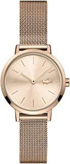 Lacoste Women's Moon Quartz Watch with Stainless Steel Strap, Rose Gold, 12 (Model: 2001137)