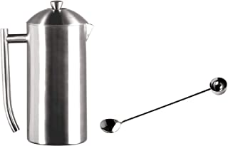 Frieling French Press Coffee Maker 36-oz Brushed Finish and Extra 1-Tablespoon Coffee Scoop and Stirrer, 18/10 Stainless Steel Set