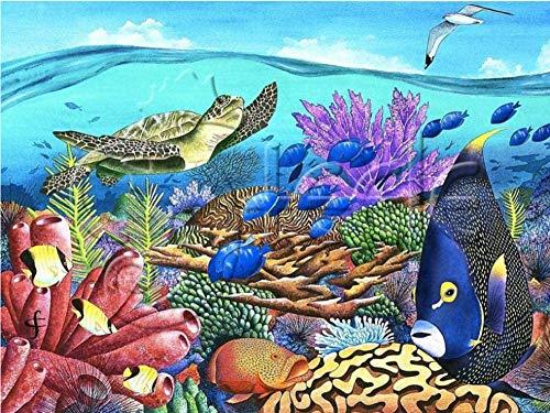 Diy Olieverfschilderij van Nummers Kits Acryl Canvas Kleuren Home Wall Decor Voor Volwassenen Beginner Kinderen - Aquarium 16X20 Inch Frameloos