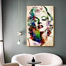 Modern Movie Star Big Poster Print Abstract Creative Colorful Marilyn Monroe Canvas Painting Living Room Wall Art Decor 50x70cm sin Marco