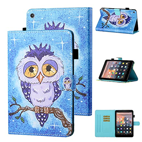 LMFULM Case for Amazon Fire HD 10 2015/2017/2019 (10.1 Inch) PU Leather Case Protective Shell Sleeve Skin Smart Case with Sleep/Wake Stand Holster Flip Cover Blue Owl