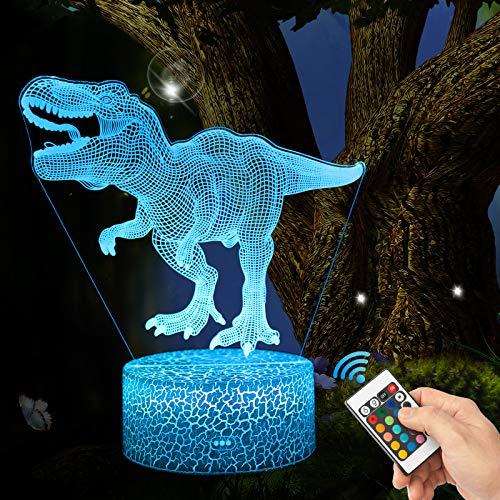 3D Heftiger T-Rex Lampe LED Nachtlicht mit Fernbedienung, QiLiTd 16 Farben Wählbar Dimmbare Touch Schalter Nachtlampe Geburtstag Geschenk, Frohe Weihnachten Geschenke Für Mädchen Männer Frauen Kinder