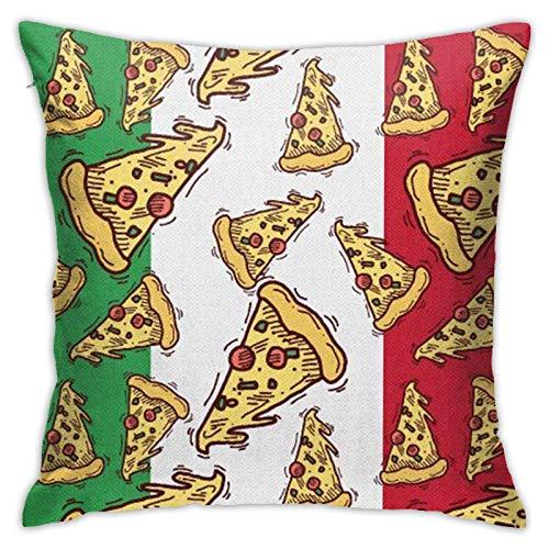 AEMAPE Pizza Slice Bandera de Italia Comida Italiana Fundas de Almohada Fundas de cojín de poliéster Lindo Fundas de Almohada Fundas de Almohada Sofá Decoración del hogar, 18x18in