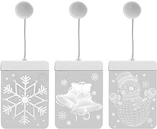 NEWZEROL 3-pack 3D LED juldekoration ljus träddekoration hängsmycken lämpliga för jul, halloween inomhus/utomhus fönsterbu...