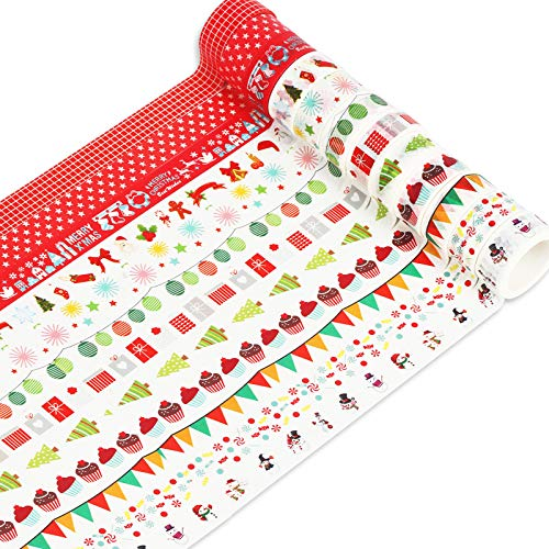 MEZOOM Washi Tapes Noël Ruban de Masquage Décoratif 12 Rouleaux Adhésifs Coloré de Masking Tape DIY avec Motifs Noel pour Bullet Journal Scrapbooking Cartes de Voeux Noël Emballage de Cadeaux