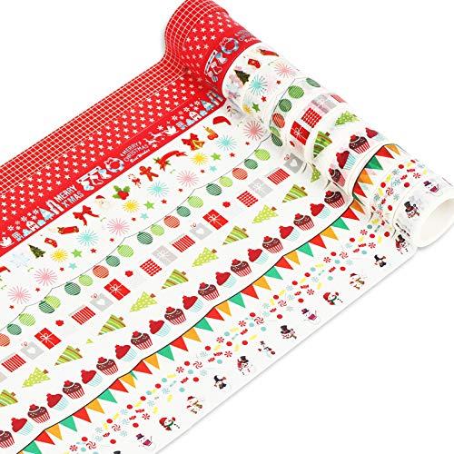 MEZOOM Cinta Adhesiva Decorativa Navidad 12 Rollos Washi Tapes Christmas Muñecos de Nieve Alce Hombres de jengibre Cintas Adesivas para Decorar álbumes de Recortes Tarjetas de Felicitación Navideñas