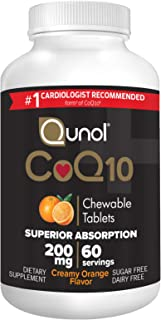 Qunol CoQ10 200mg, Superior Absorption Natural Supplement Form of Coenzyme Q10, Antioxidant for Heart Health, Chewable Tab...