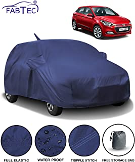 Fabtec Waterproof Car Body Cover for Hyundai Elite i20 2018 with Mirror & Antenna Pocket Storage Bag (Full Sized, Triple Stitched, Fully Elastic) (Navy Blue)