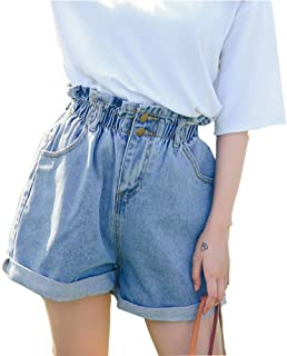 Plaid&Plain Women's High Waisted Denim Shorts Rolled Blue Jean Shorts