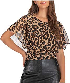 cutemom Women's T-shirt Women Casual Fashion Round Neck Leopard Print Short Sleeve Tops Blouse Sexy Elegant Vintage Top Shirt Fit Comfy Tunic