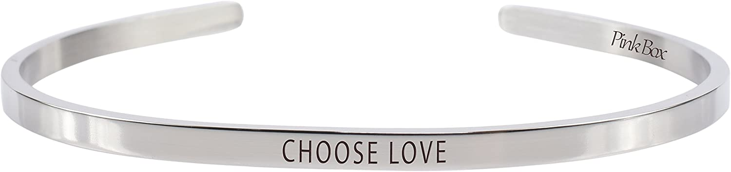 Pink Box 3mm Solid Stainless Steel Cuff Bracelet - Choose Love