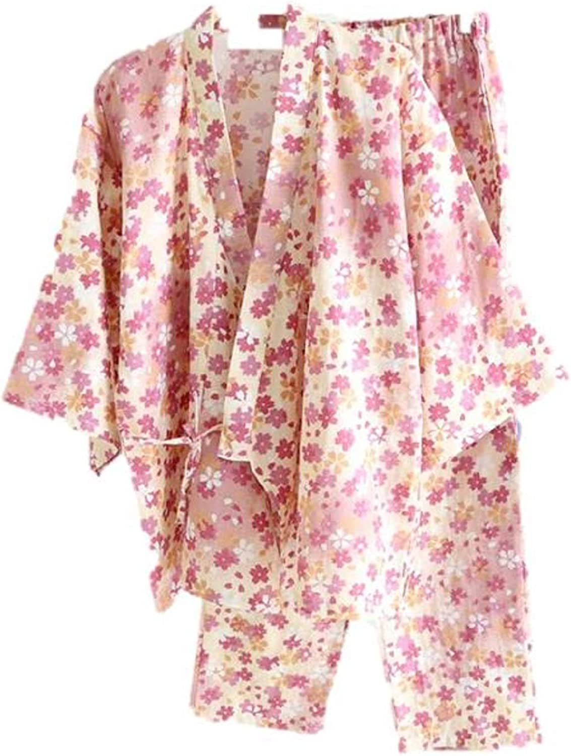 Ramatic Women Floral Prints Cotton Kimono Pajamas Set Japanese Style Nightwear