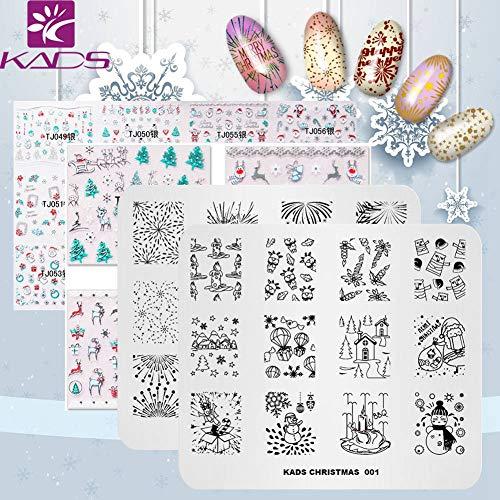 KADS 2 pz Natale Nail Stamping Plate + 2pcs 3D Nail Sticker Template Image Design Piatti per Nail Art Decoration e DIY Nail Art adesivo ail