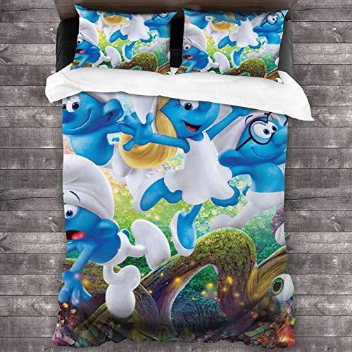 Juego de cama de 3 piezas de 218 x 177 cm, S-Mur-Fs portátil, tamaño king con 2 fundas de almohada cuadradas coloridas para dormitorio de adultos
