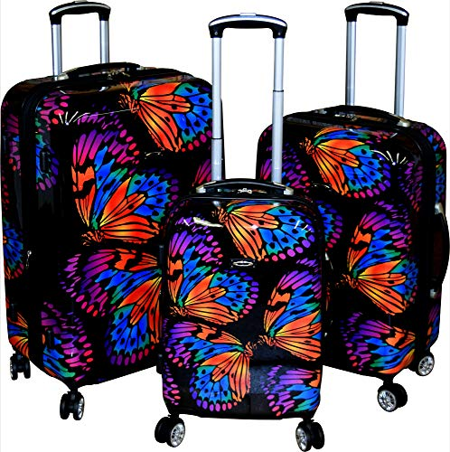 Kemyer 788 Vintage World Series Lightweight 3-PC Expandable Hardside Spinner Luggage Set (Butterflies)