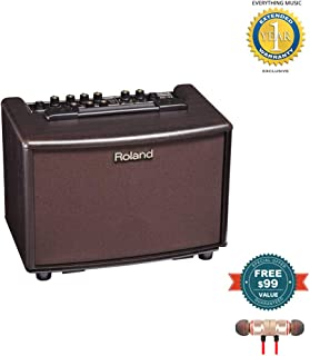 Roland AC-33RW 30-Watt 2x5-Inch Acoustic Chorus Guitar Amp Rosewood includes Free Wireless Earbuds - Stereo Bluetooth In-ear and 1 Year Everything Music Extended Warranty
