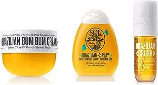 Sol de Janeiro Travel Bundle- Travel size (75ml) Brazilian Bum Bum Cream, Travel size (90ml) Brazilian 4Play Cream Gel, (90ml) Travel Size Brazilian Body Mist
