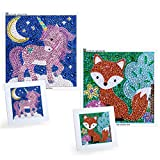 MWOOT 2 Pack 5D Diamond Art Painting by Number Kit for Children,DIY Full Drill Diamond Dots Cross Stitch Beginners Art Crafts Kits,Kids Gift for Home Wall Decor 12x12CM (Fox + Unicorn)