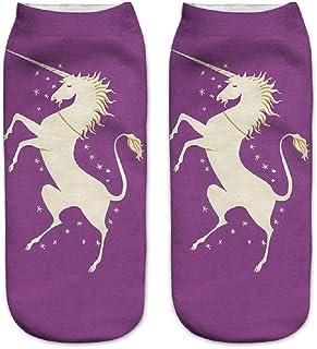 Unicorn Ladies Print 3D Invisible De Algodón Impreso Algodón Para Ropa festiva Hombres Calcetines Deportivos Invisible Calcetines Suave Casual Cómodo