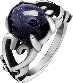 Womens Rings Celtic, Blueish Galaxy Stone Ring Heart, Zirconia, Stainless Steel, Size 6-11
