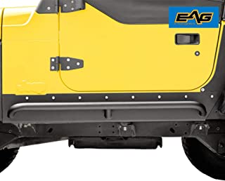 EAG Steel Rivet Armor Rocker Guard with Tube Running Step Fit for 97-06 Jeep Wrangler TJ