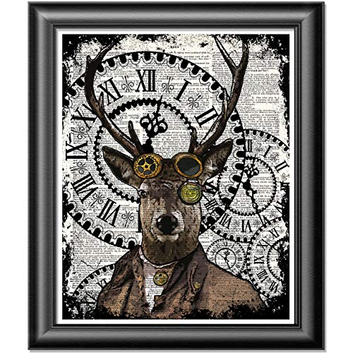 Deer Stag art print, Poster Print on Antique Dictionary book page, wall...