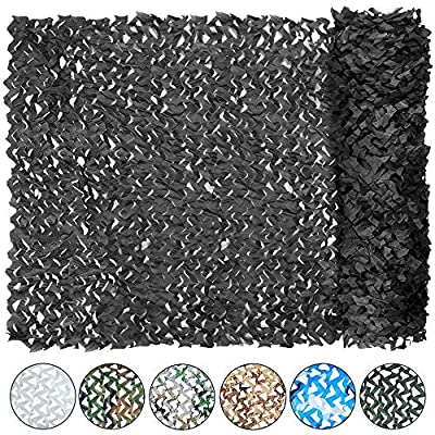 Yeacool Camouflage Netting Military Camo Nets for Party Decoration Hunting Sunshade Camping Shooting(Black 32.8ftx5ft)