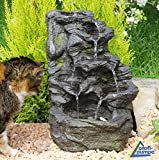 Zimmerbrunnen Gartenbrunnen Brunnen Zierbrunnen Brunnen Springbrunnen Vogelbad Fels-Kaskade mit RGB Licht 230V Wasserfall Wasserspiel für Garten, Gartenteich, Terrasse, Teich, Balkon Sehr...