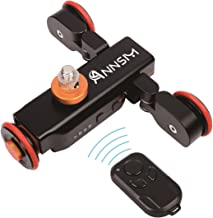 Annsm Pro 3-Wheels Wireless Pure Metal Camera Auto Motorized Dolly Track Slider Portable Table Top for DSLR Camcorders Gopro iPhone or Smartphones with 3 Speeds with Remote Controller Black