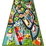 Kids Carpet Playmat Rug - Fun Carpet City Map for Hot Wheels Track Racing and Toys - Floor Mats for Cars for Toddler Boys -Bedroom, Playroom, Living Room Game Play Mat for Little Children - 60' x 32'