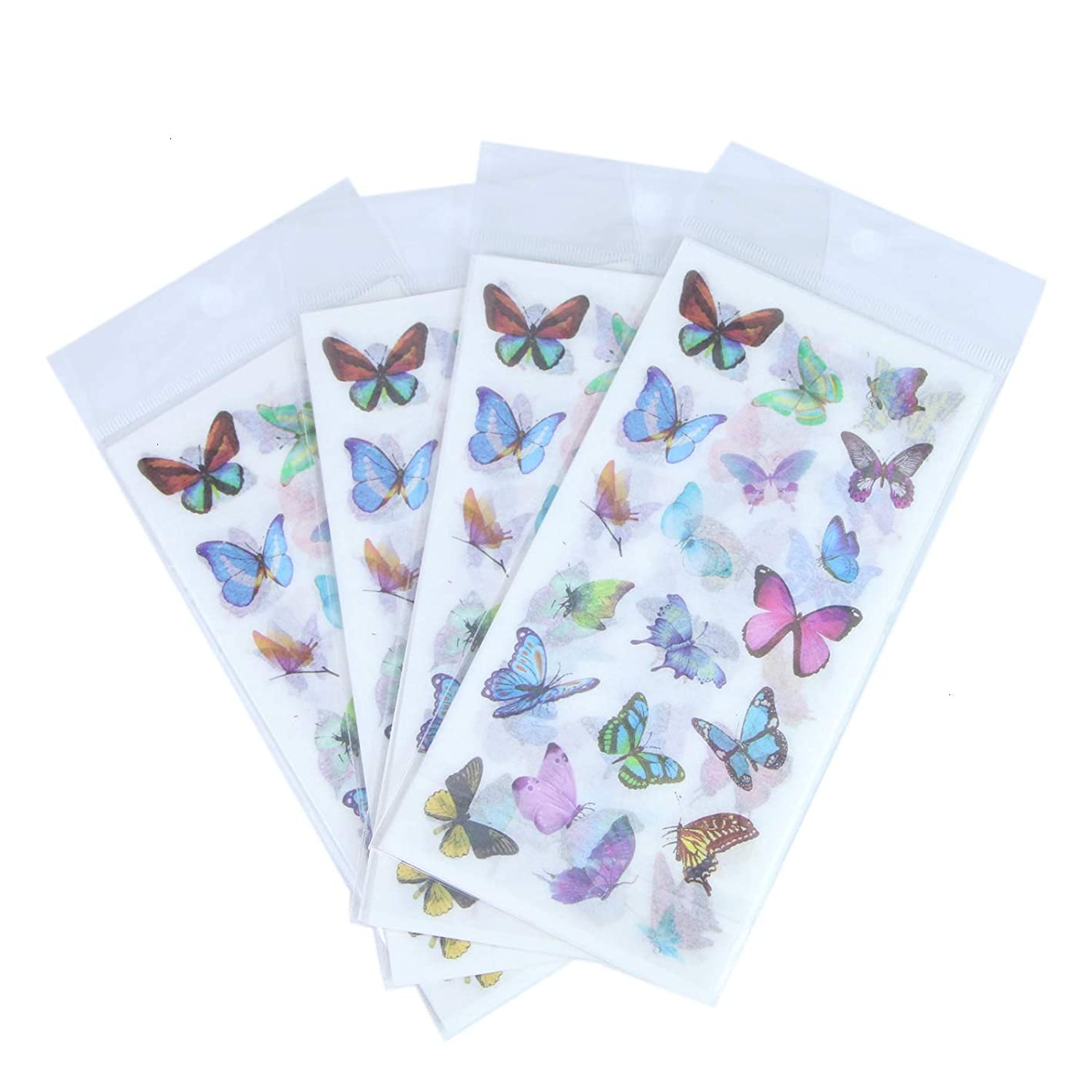 Monrocco 24 Sheet Butterfly Decorative Adhesive Sticker, Craft Scrapbooking Sticker, Washi Planner Sticker for DIY Arts and Crafts,Life Daily Planner,Bullet Journals,Scrapbooks,Calendars, Album febiejlfswl634